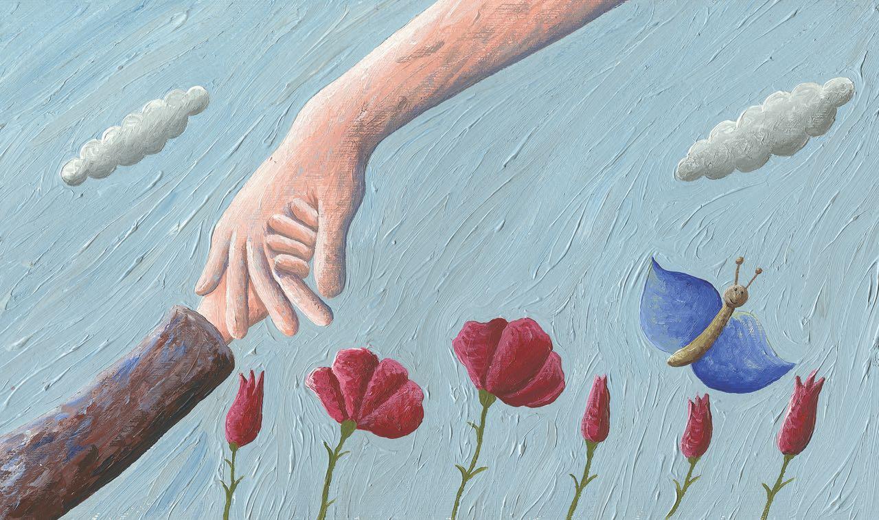 Niño tomado de la mano de un adulto. Flores y mariposa con cielo azul. Ilustración del libro Amor, de Andrea Petrlik. Editorial Leetra.