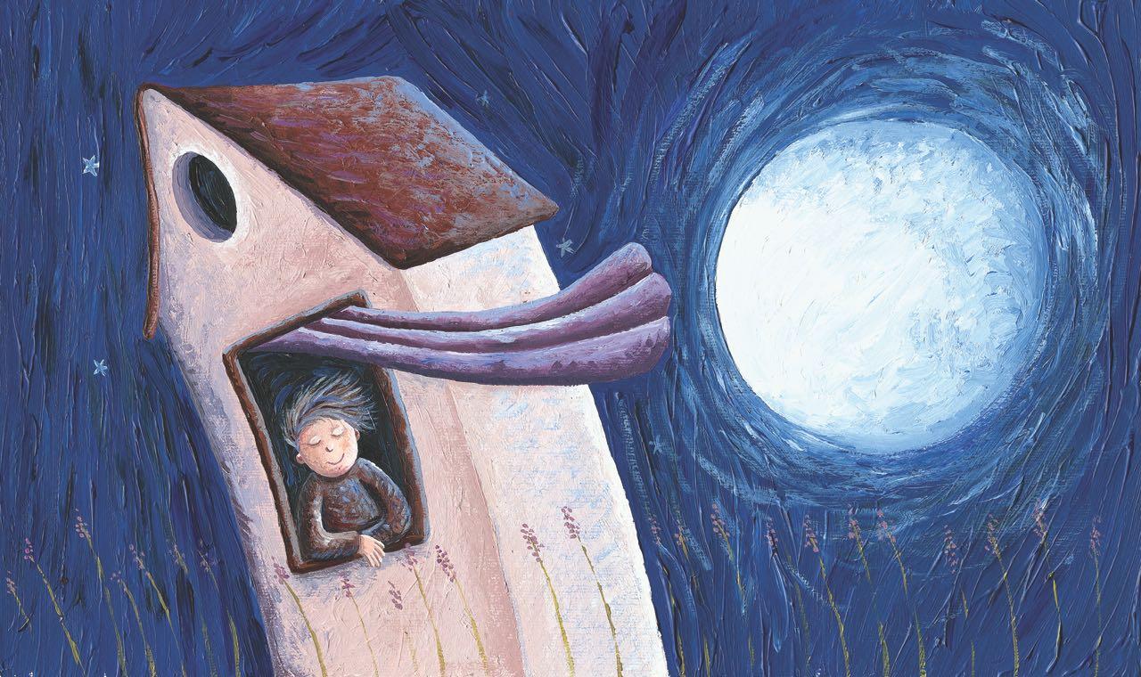 Niño pensativo en una noche de luna llena. Ilustración del libro Amor, de Andrea Petrlik. Editorial Leetra.