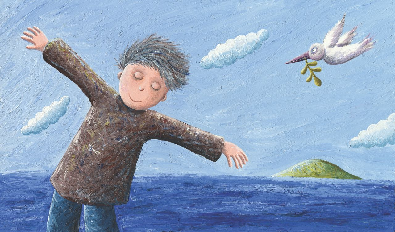 Niño movido por el viento con paloma detrás. Ilustración del libro Amor, de Andrea Petrlik. Editorial Leetra.