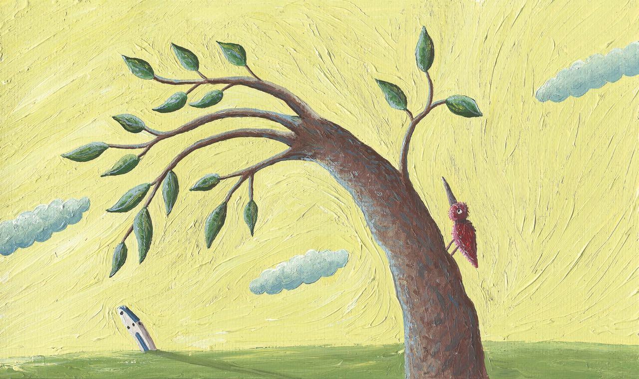 Árbol movido por el viento. Ilustración del libro Amor, de Andrea Petrlik. Editorial Leetra.