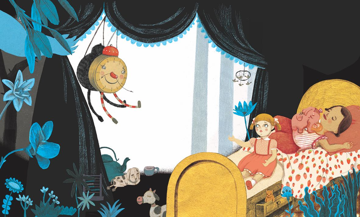 Niña en un sueño. Ilustración del libro Buenas Noches Monstruo, de Shira Geffen y Natalie Waksman-Shenker. Editorial Leetra.