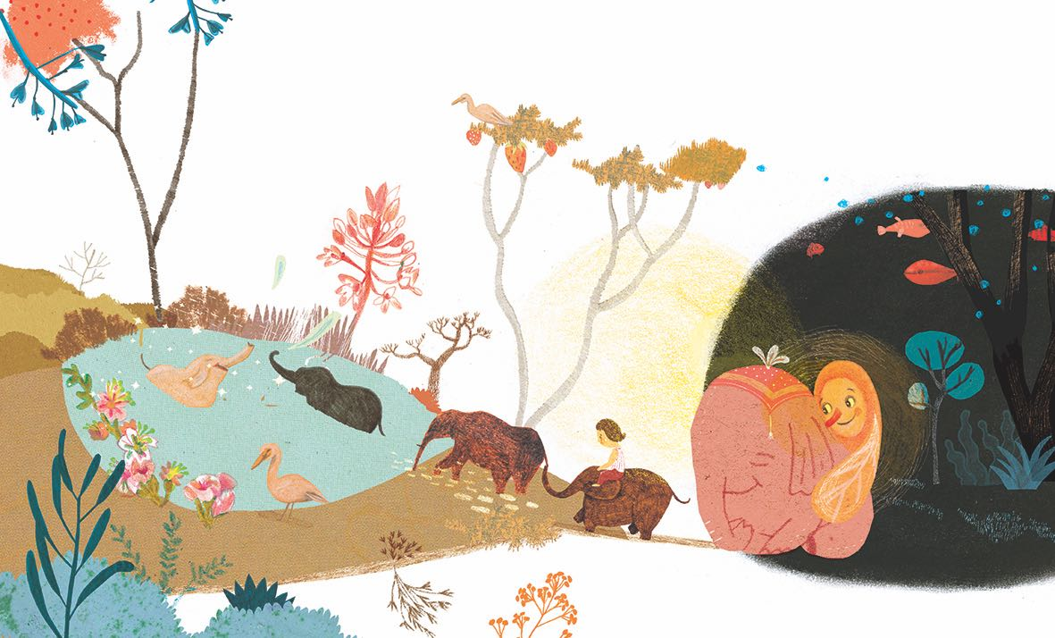 Sueño con animales y un lago. Ilustración del libro Buenas Noches Monstruo, de Shira Geffen y Natalie Waksman-Shenker. Editorial Leetra.