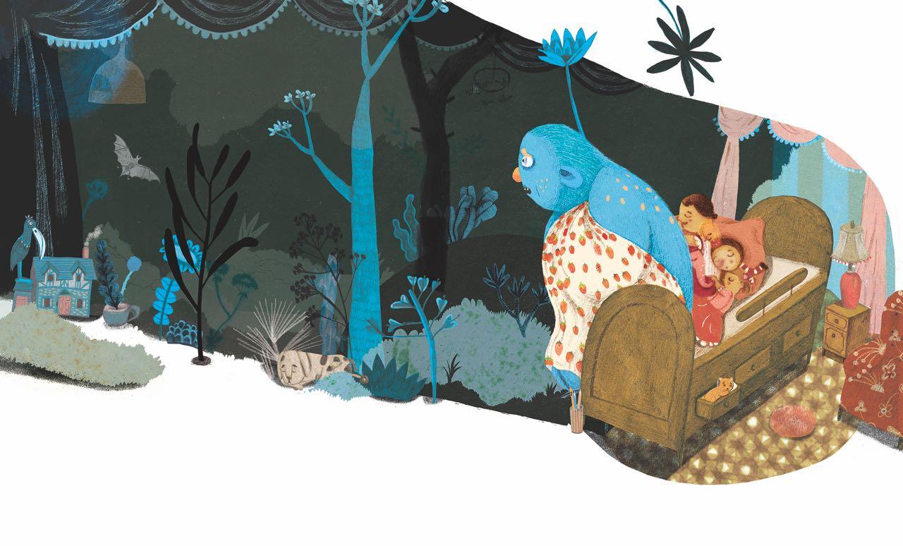 Monstruo a un costado de la cama. Ilustración del libro Buenas Noches Monstruo, de Shira Geffen y Natalie Waksman-Shenker. Editorial Leetra.