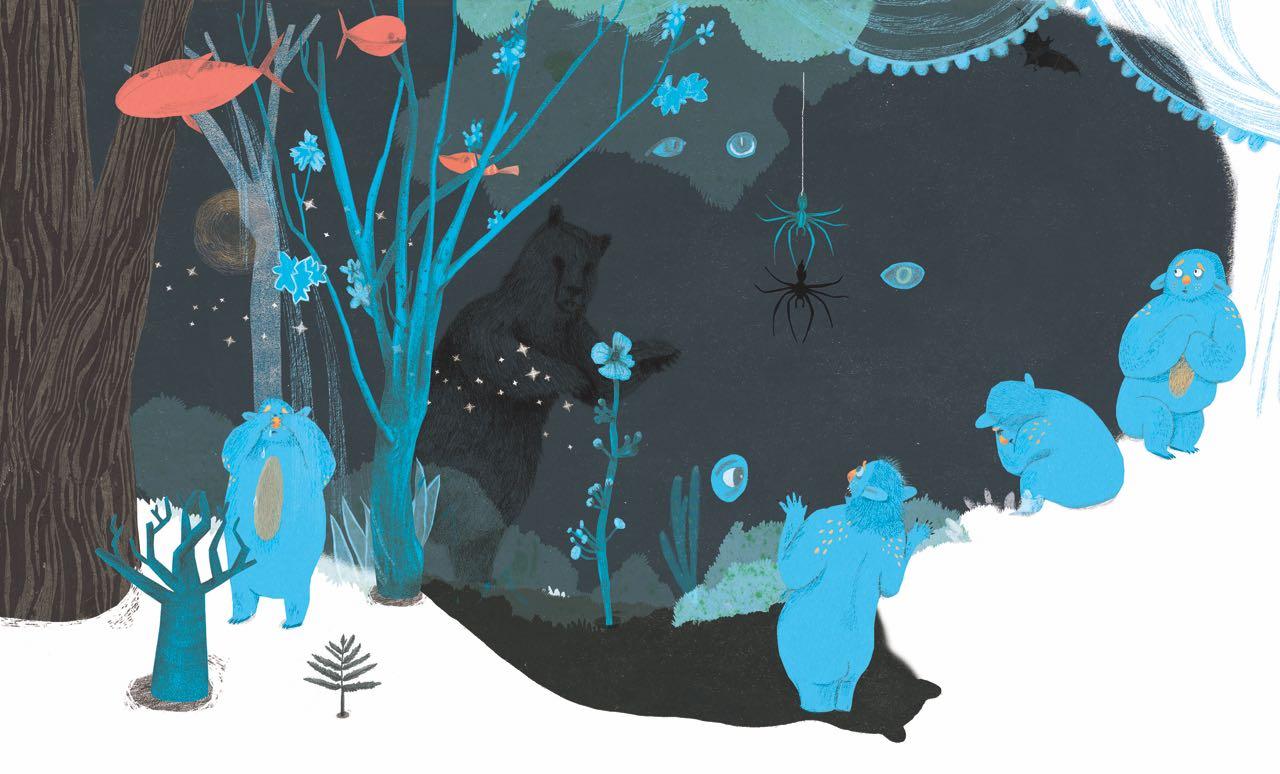 Monstruo en la nieve. Ilustración del libro Buenas Noches Monstruo, de Shira Geffen y Natalie Waksman-Shenker. Editorial Leetra.