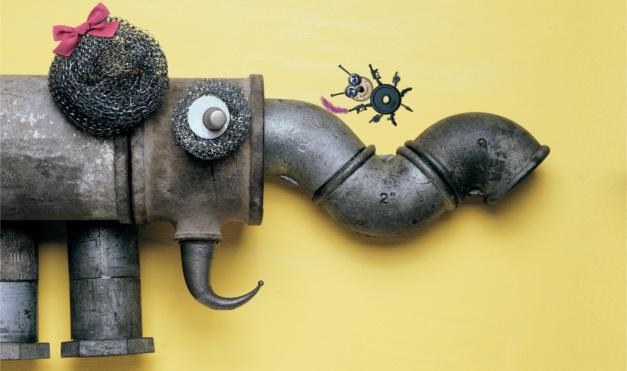 Elefante de tubería con un bicho en la trompa cargando la pluma violeta. Ilustración del libro La Pluma Violeta, de Hanoch Piven. Editorial Leetra.