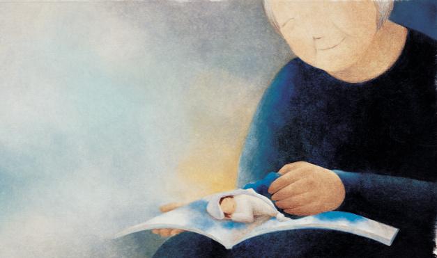 Abuela leyendo libros. Ilustración del libro Mi abuela me lee libros, de InJa Kim y Jinhee Lee. Editorial Leetra.