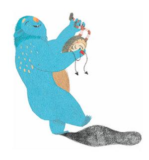 Monstruo azul feliz haciendo música - del libro Buenas Noches Monstruo - Editorial Leetra
