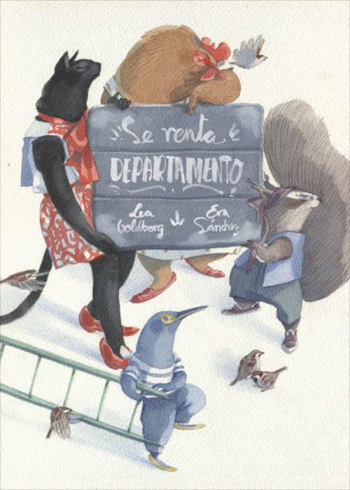 """Portada del libro ilustrado """"Se renta departamento"""", de Lea Goldberg y Eva Sánchez. Encuéntralo en Leetra."""
