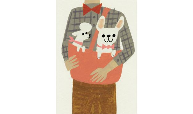 Bulldog gastón y poodle en bolsa de dueño. Ilustración del libro Gastón, de Kelly DiPucchio y Christian Robinson. Editorial Leetra.