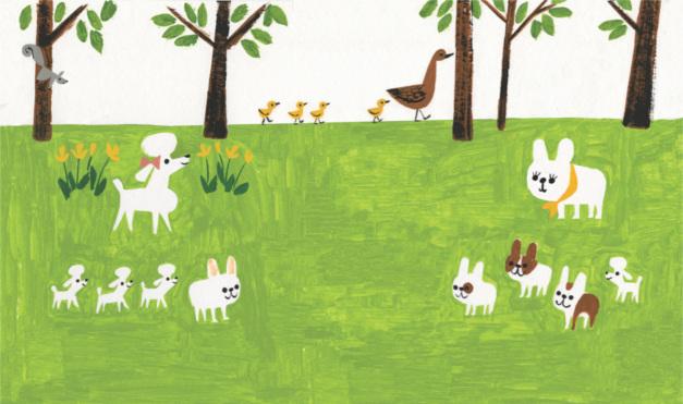 Bulldog gastón con poodles en el parque. Ilustración del libro Gastón, de Kelly DiPucchio y Christian Robinson. Editorial Leetra.