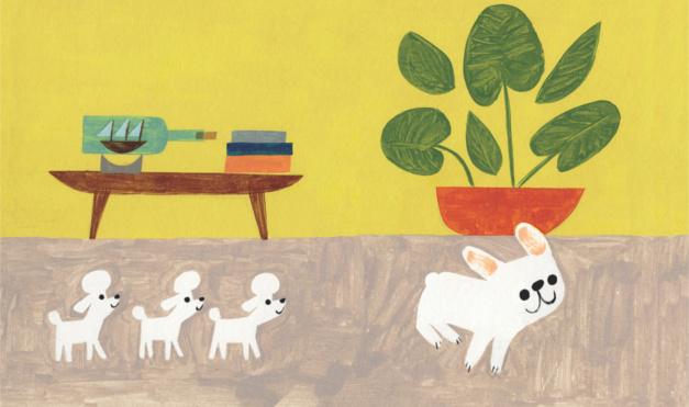 Bulldog gastón jugando con poodles en la casa. Ilustración del libro Gastón, de Kelly DiPucchio y Christian Robinson. Editorial Leetra.