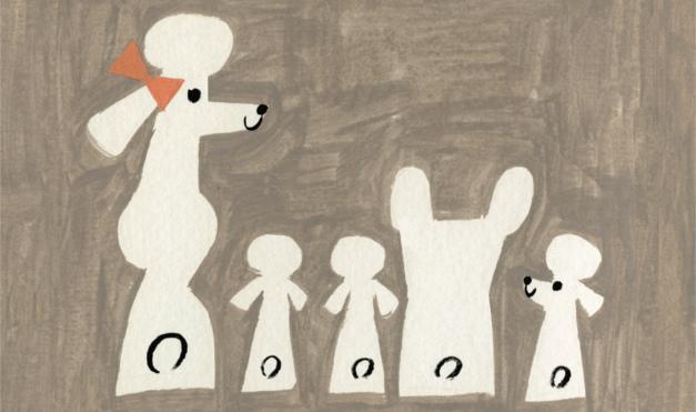 Bulldog Gastón sentado con poodles en la casa. Ilustración del libro Gastón, de Kelly DiPucchio y Christian Robinson. Editorial Leetra.