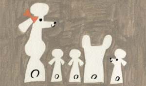 """Perrito bulldog con poodles. Ilustracion del libro """"Gastón"""", de Kelly DiPucchio y Christian Robinson. Editorial Leetra."""