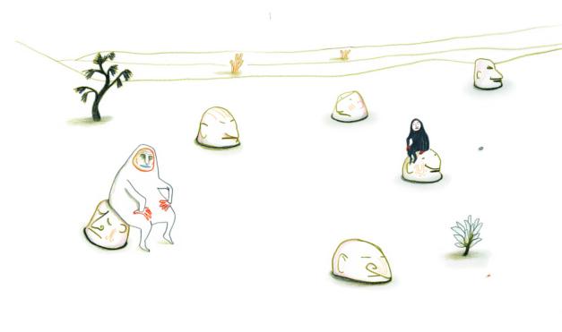 En medio de la nada. Ilustración del libro Dentro de mí, de Alex Cousseau y Kitty Crowther. Editorial Leetra.
