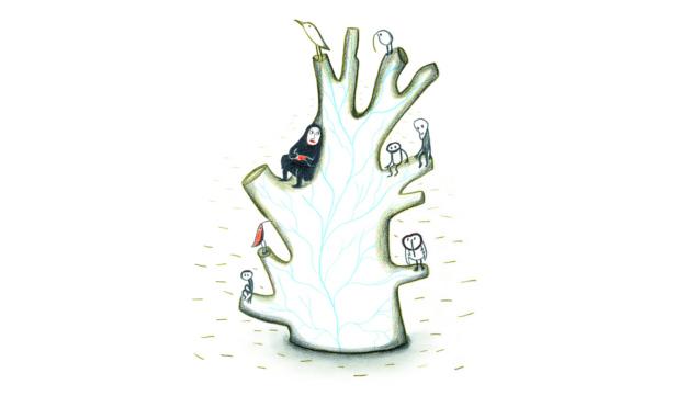 Persona sentada sobre árbol seco. Ilustración del libro ilustrado Dentro de Mí, de Alex Cousseau y Kitty Crowther. Editorial Leetra.