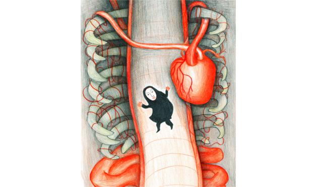 Bajando por el esófago. Ilustración del libro Dentro de mí, de Alex Cousseau y Kitty Crowther. Editorial Leetra.