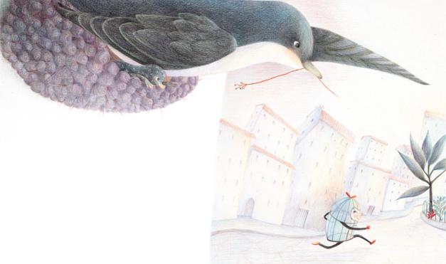 Ave persiguiendo a jaula vacía en la ciudad. Ilustración del libro Érase una vez una jaula, de Rodoula Pappa y Célia Chauffrey. Editorial Leetra.