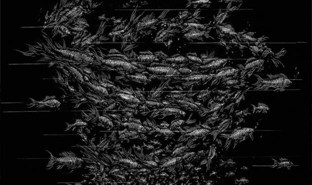 Peces en grupo organizados, en blanco y negro. Ilustración del libro Mi taza de té, de Dror Burstein y Meir Appelfeld. Editorial Leetra.