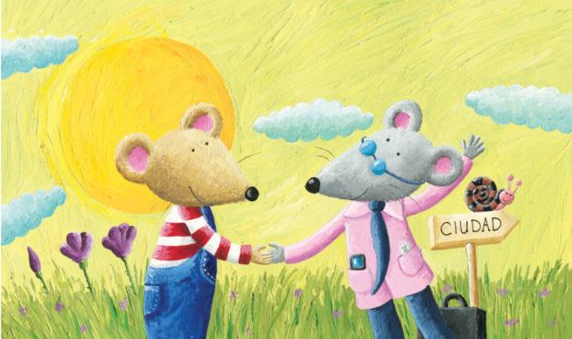 Bienvenida al campo lleno de pasto y un cielo hermoso. Ilustración del libro Ratón de campo y ratón de ciudad, de Andrea Petrlik y Kašmir Huseinović. Editorial Leetra.