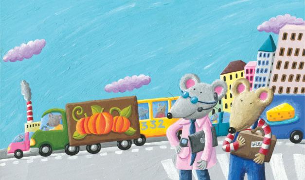 Confundido y aturdido en la ciudad llena de coches, camiones y tráfico. Ilustración del libro Ratón de campo y ratón de ciudad, de Andrea Petrlik y Kašmir Huseinović. Editorial Leetra.