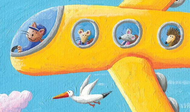 Sorprendido de la vista en el avión, con gaviota de compañía. Ilustración del libro Ratón de campo y ratón de ciudad, de Andrea Petrlik y Kašmir Huseinović. Editorial Leetra.