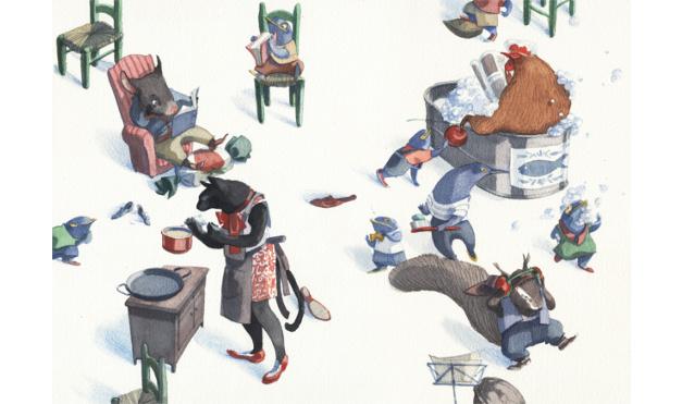 Gato cocinando, gallina bañándose, animales domingueando en departamento. Ilustración del libro Se renta departamento, de Lea Goldberg y Eva Sánchez. Editorial Leetra.