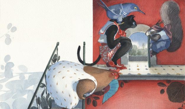 Gallina, gato y ardillas esperando en la puerta. Ilustración del libro ilustrado Se Renta Departamento, de Lea Goldberg y Eva Sánchez. Editorial Leetra.