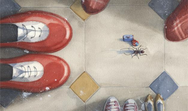 Dándole la bienvenida al nuevo inquilino, la hormiga. Ilustración del libro Se renta departamento, de Lea Goldberg y Eva Sánchez. Editorial Leetra.