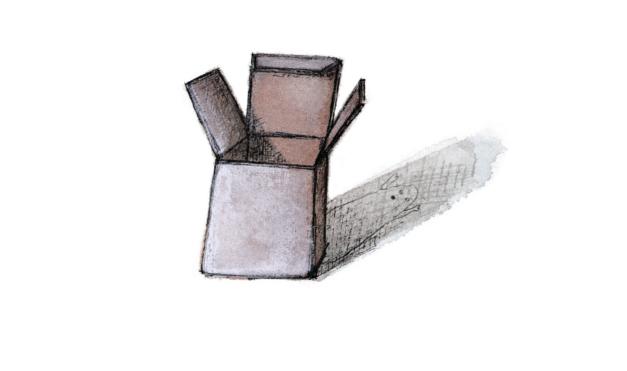 Caja vacía con sombra. Ilustración del libro Una historia de absolutamente nada, de Søren Lind Hanne Bartholin. Editorial Leetra.