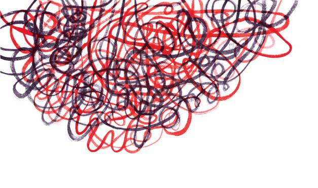 Dibujo de rayones en azul y rojo. Ilustración del libro Una historia de absolutamente nada, de Søren Lind Hanne Bartholin. Editorial Leetra.