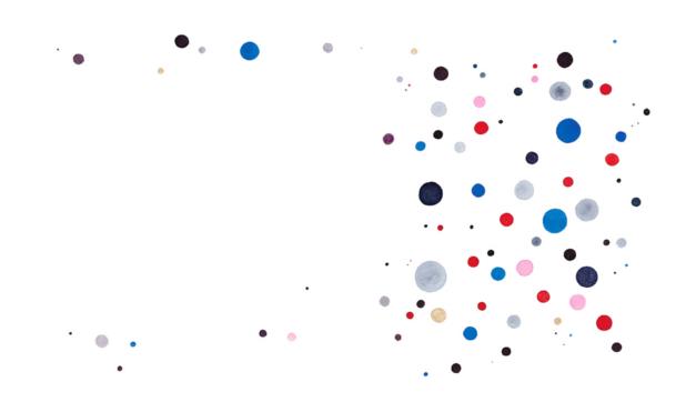 Puntos de colores dispersos. Ilustración del libro Una historia de absolutamente nada, de Søren Lind Hanne Bartholin. Editorial Leetra.