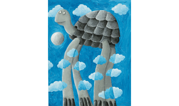 Tortuga con piernas largas en las nubes. Ilustración del libro Cielo Azul, de Andrea Petrlik. Editorial Leetra.