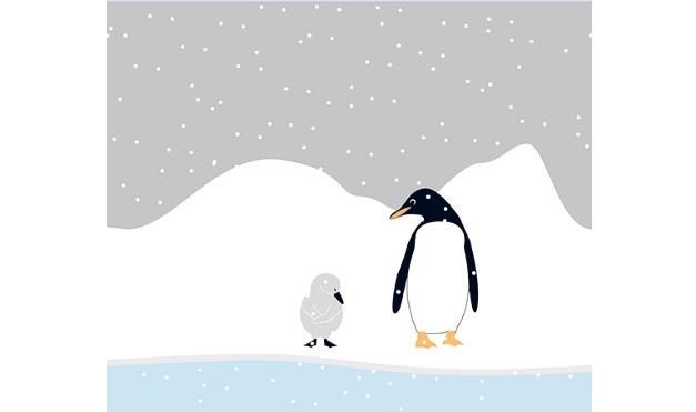 Ilustración del libro Cuac - pinguino viendo al patito feo