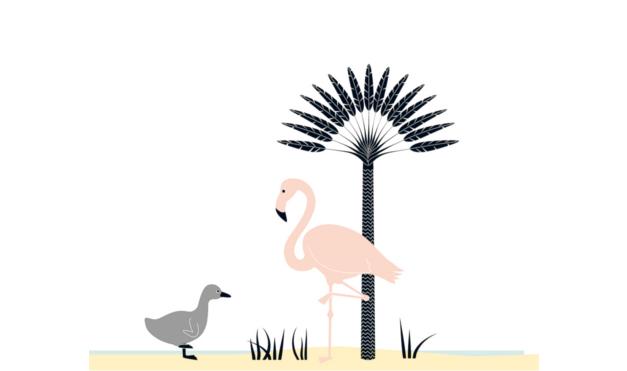 Ilustración del libro Cuac - patito feo encontrándose con un pelícano