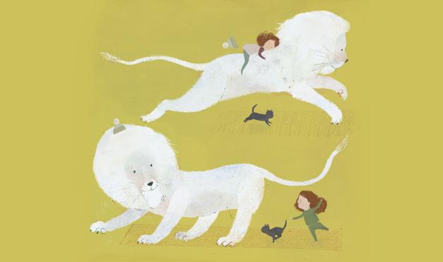 Ilustración del libro el León Nieve - león blanco jugando con niña