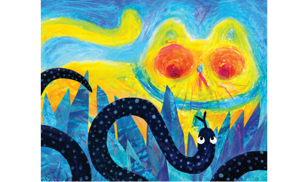 Ilustración del libro Todos vieron un gato - gato y serpiente